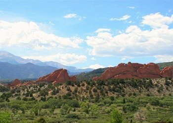 View of Garden of the Gods from a distance with Blue Sky in the background