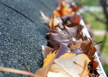 Autumn leaves clogging a gutter on a roof in Colorado Springs, CO