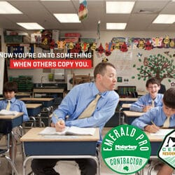Funny picture of older gentleman in school copying young kids to showcase competitors copying Malarkey Roofing Products