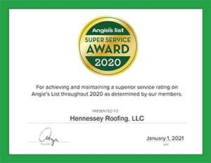 Angie's List 2020 Superior Service Award for Hennessey Roofing in Colorado Springs, CO